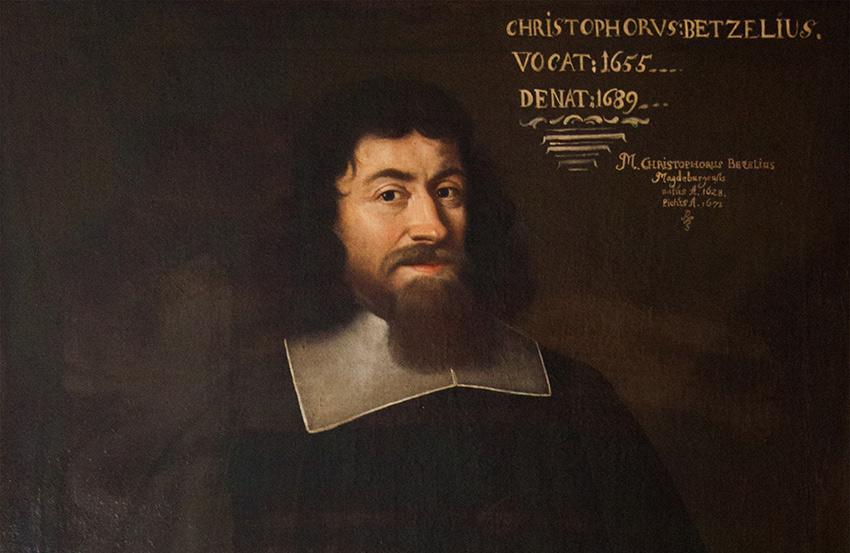 Porträtt av Christophorus Bezelius. Prästvigd 1655, död 1689. Tillhör Tyska S:ta Gertrud församling.