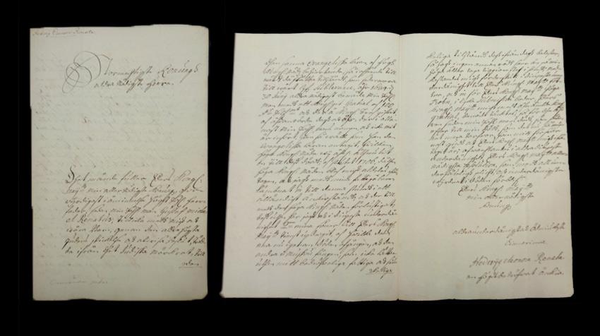 Brev undertecknat Hevig Eleonora Renata, en högt bedrövad änka. Ställd till kung Karl XII. Hedvig Eleonoras supplik, odat., Acta Ecclesiastica, RA.
