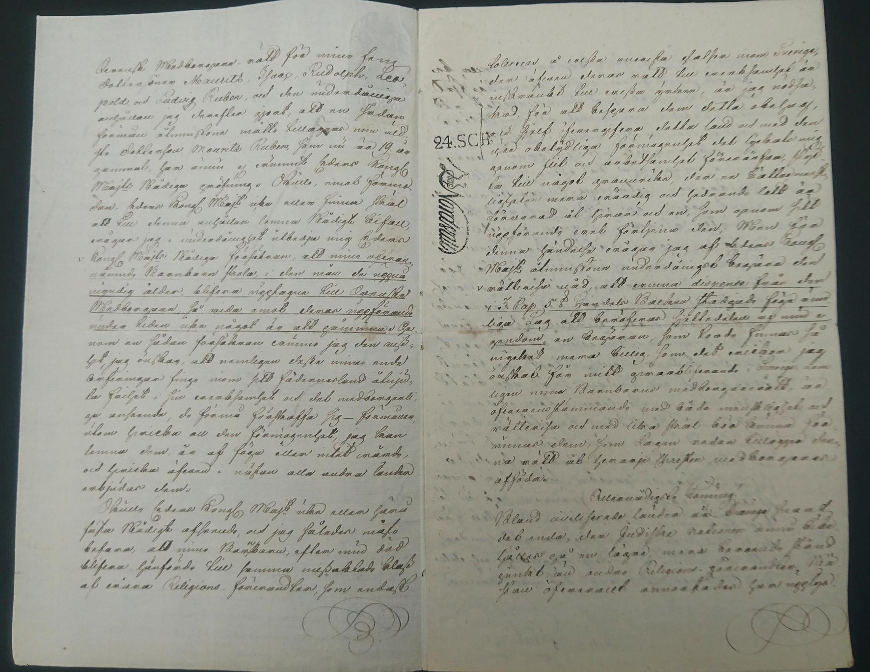 Ett av breven till Kung Karl XIII från Fabian Philip