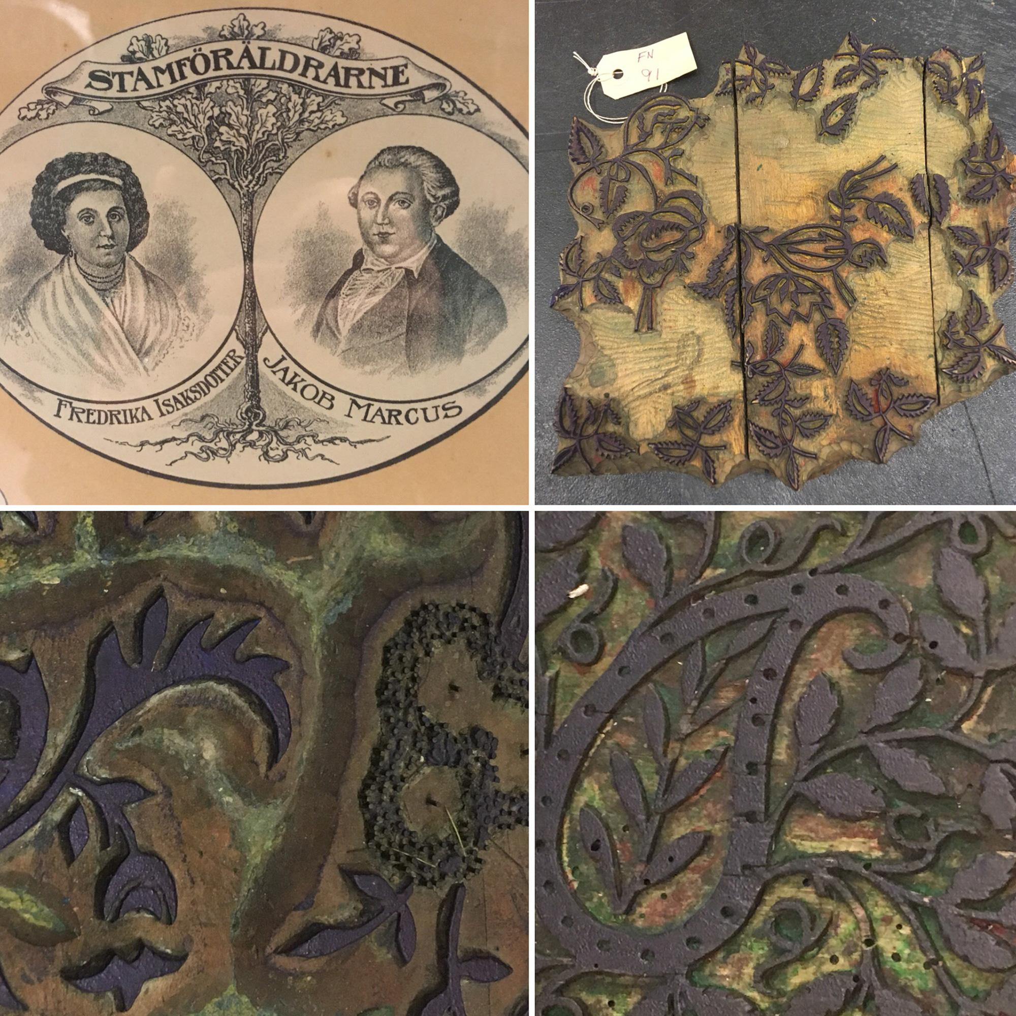 Skissmaterial; Marcus släktträd och olika exempel på kattun block.